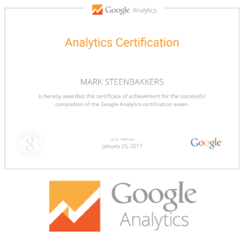 Google Analytics certified - Mark Steenbakkers